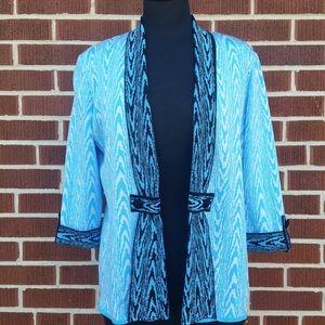 Ming Wang Abstract Print Knit Blazer Jacket